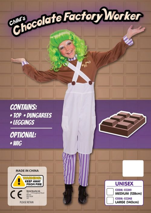 Boys Chocolate Factory Worker Costume Wonka Fancy Dress Outfit